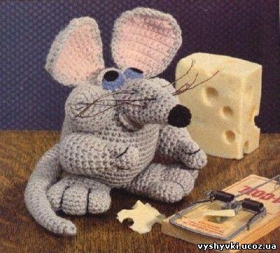 Щекастый мышонок - вязаная