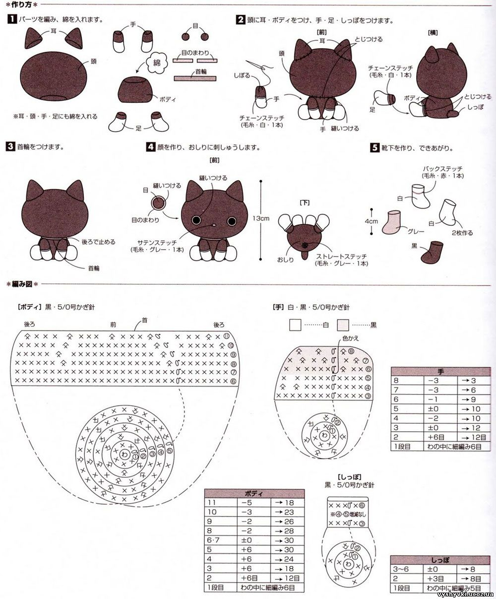 Схемы для вязания крючком амигуруми для начинающих схемы с подробным