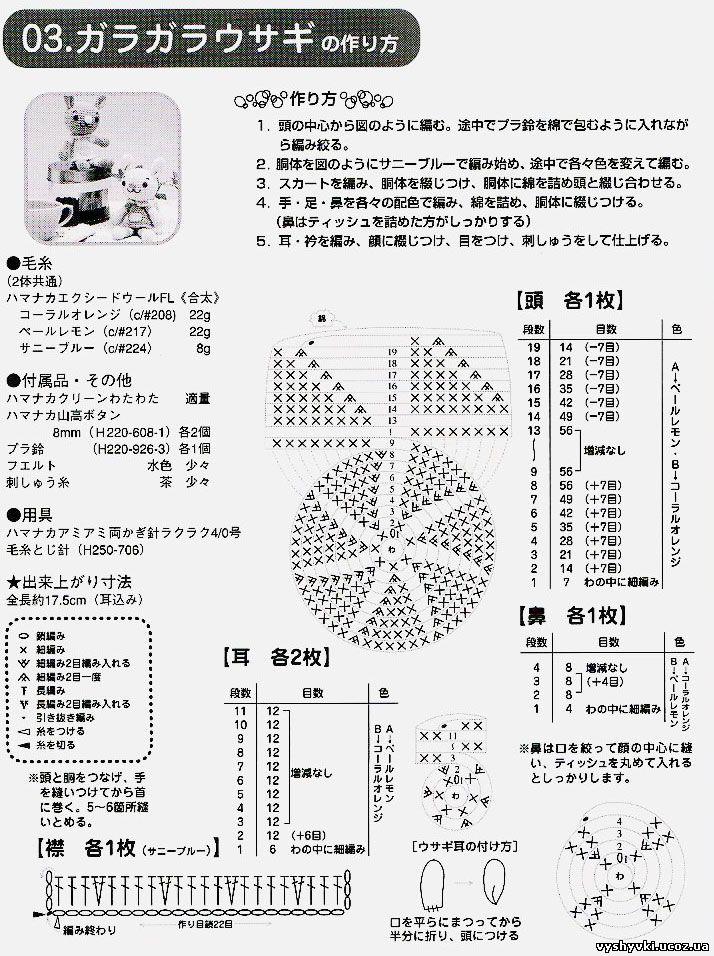 Схема вязания зайцев амиругами
