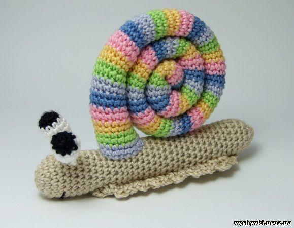 Амигуруми цветная улитка