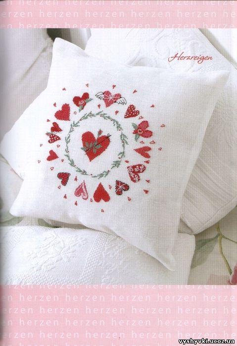Подушка с сердечками. подушка