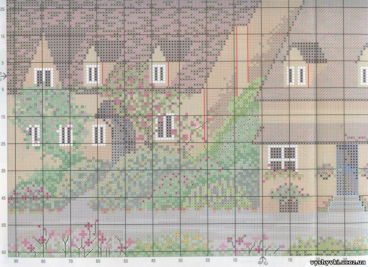 Схема для вышивки зеленая деревенька 51