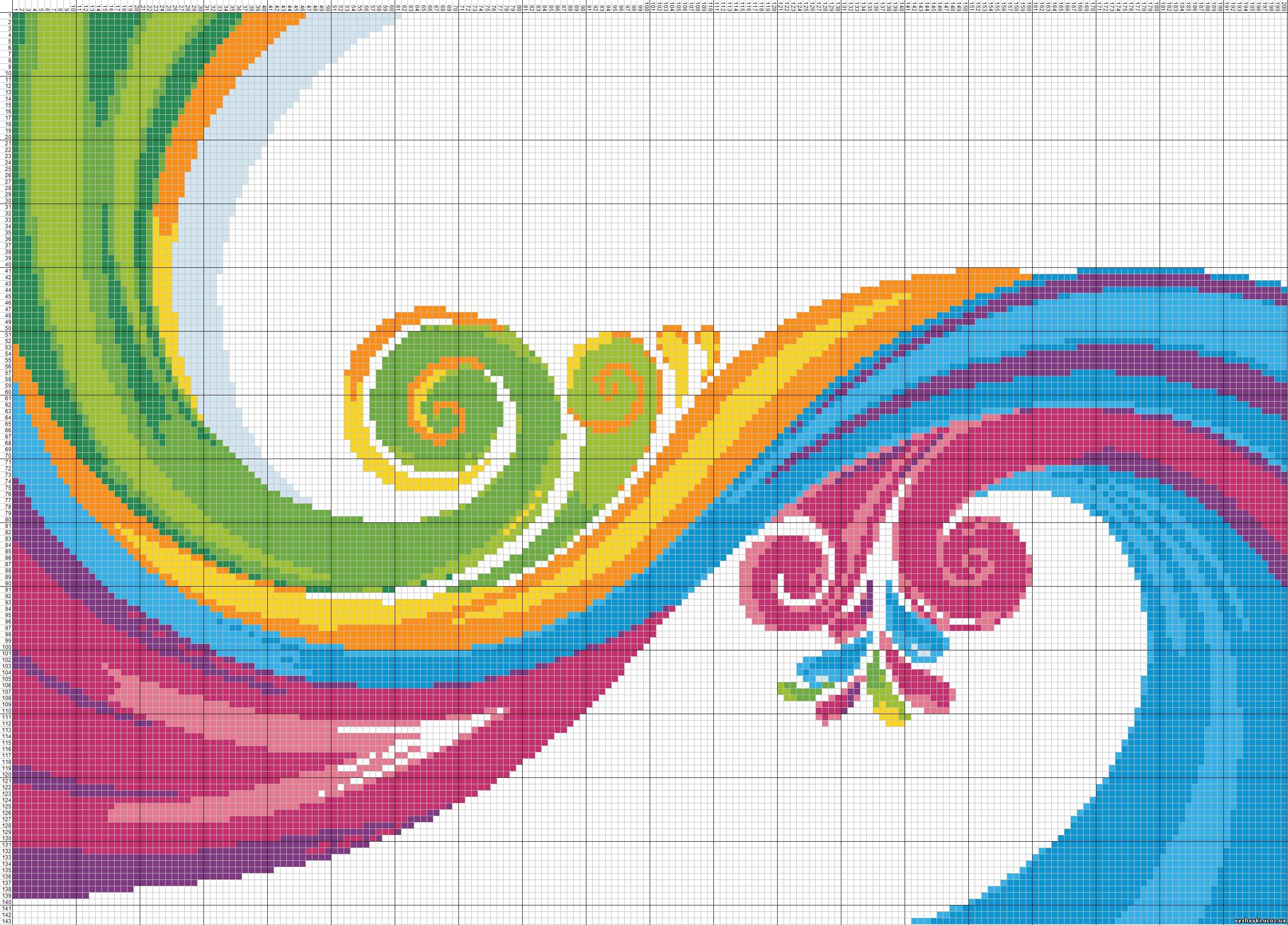 Разноцветные схемы вышивки крестом