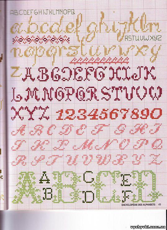 Схема вышивки алфавит и цифры