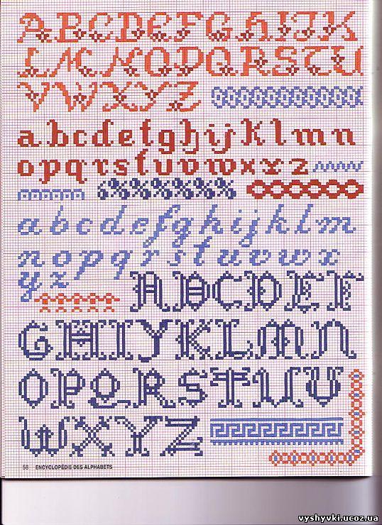 Вышивка крестом красивый алфавит