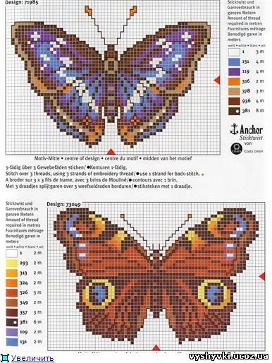Вышивка крестом схемы бесплатно бабочки
