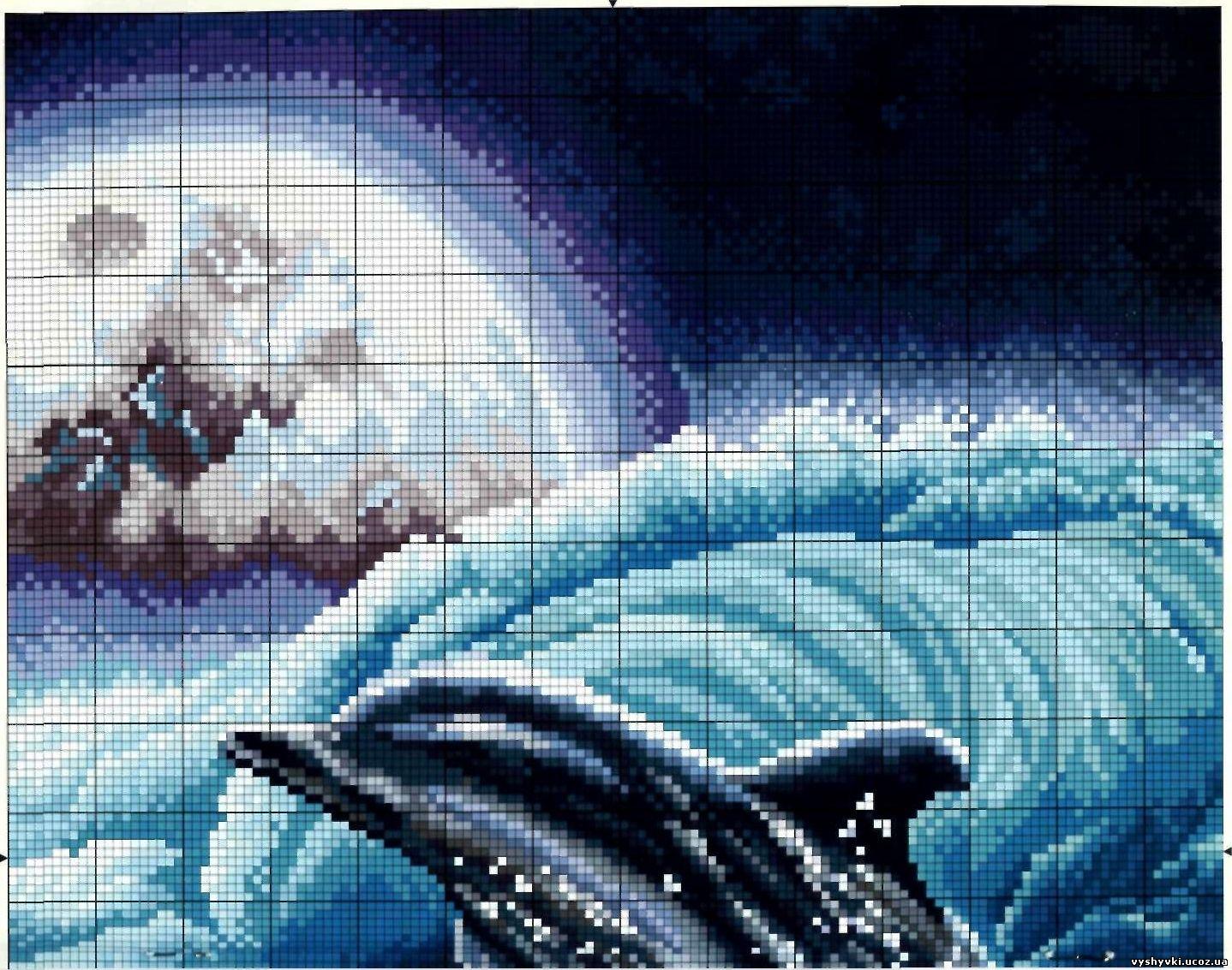 Вышивка крестом дельфинов схемы бесплатно