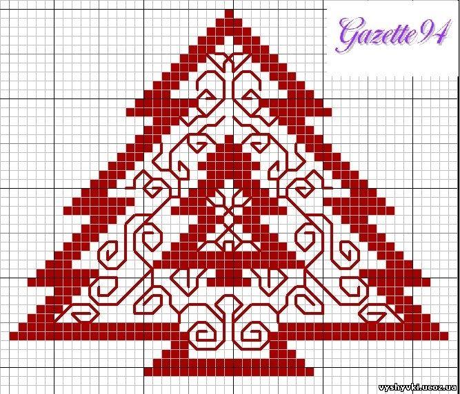 Бесплатная схема вышивки елки