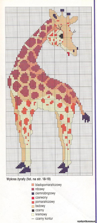 Схема вышивки жирафа. Жираф