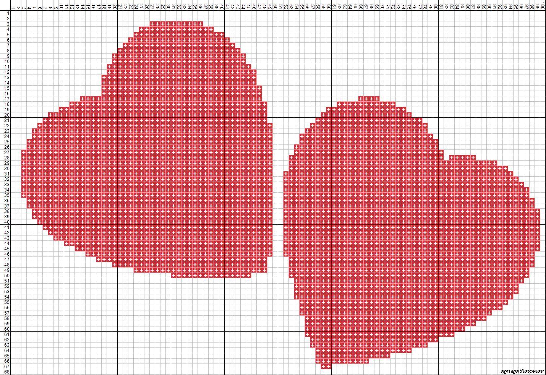 Сердце для вышивки крестиком 581