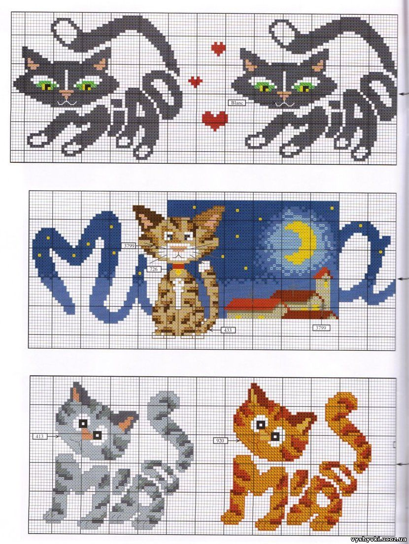 Вышивка крестиком котёнка 68