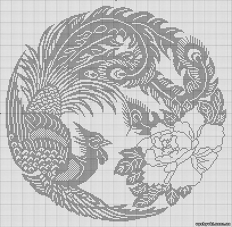 Вышивка: Птица монохром
