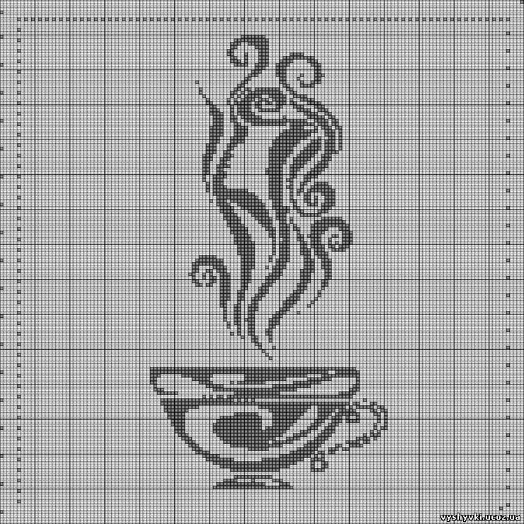 Вышивка: Чашка монохром