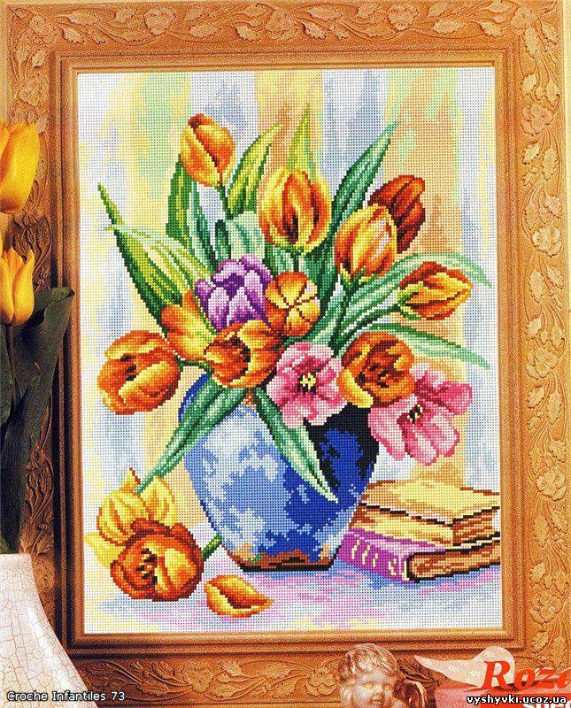 Вышивка букета тюльпанов -