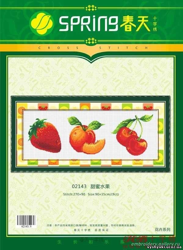 Вышивка фрукты