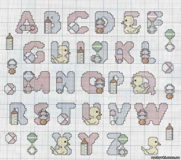 Вышивка английского алфавита