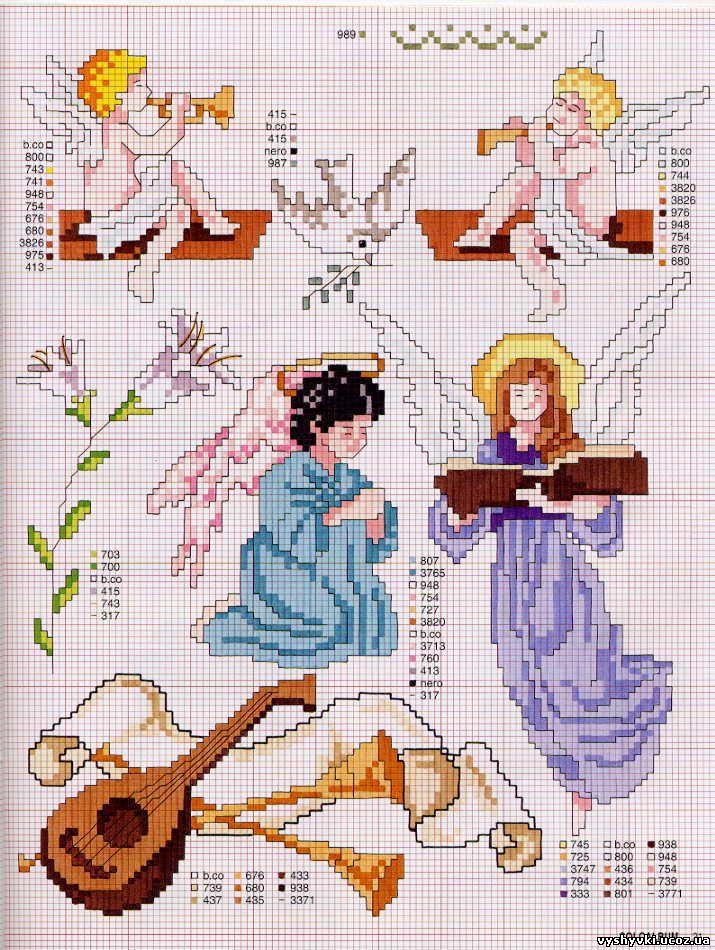 Вышивка ангела крестиком