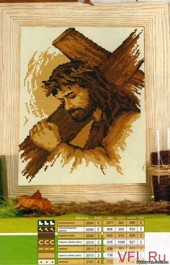 Иисус, несущий крест - вышивка