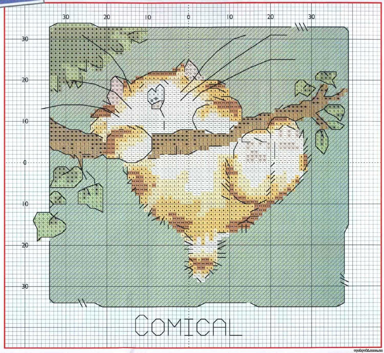 схема вышивки-коты крестиком