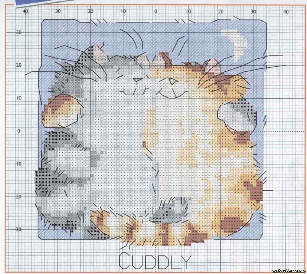 Спящие котики схема вышивки