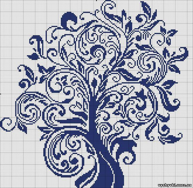 Синее денежное дерево вышивка