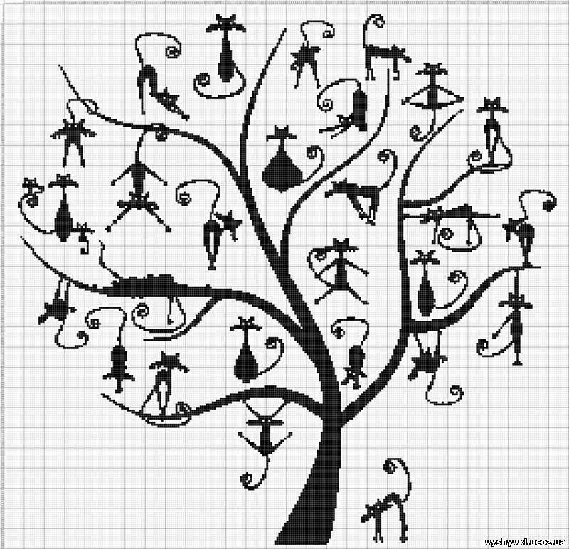 Дерево с котами в монохроме
