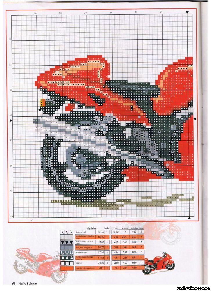Схемы вышивок мотоцикл