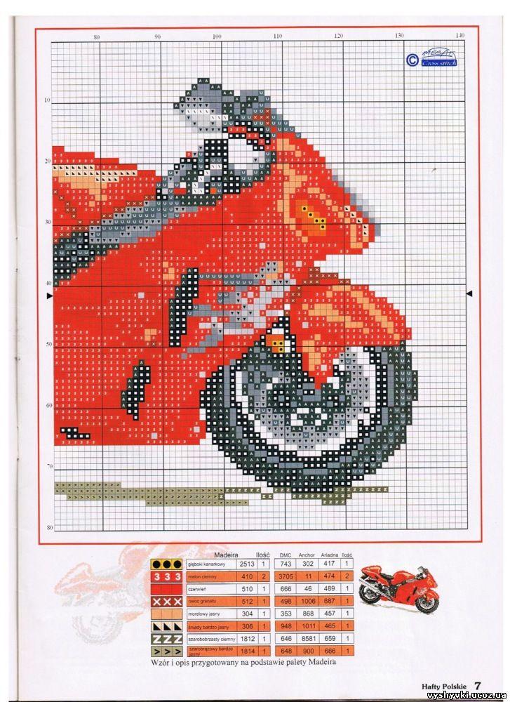 Схема вышивки крестом мотоциклов
