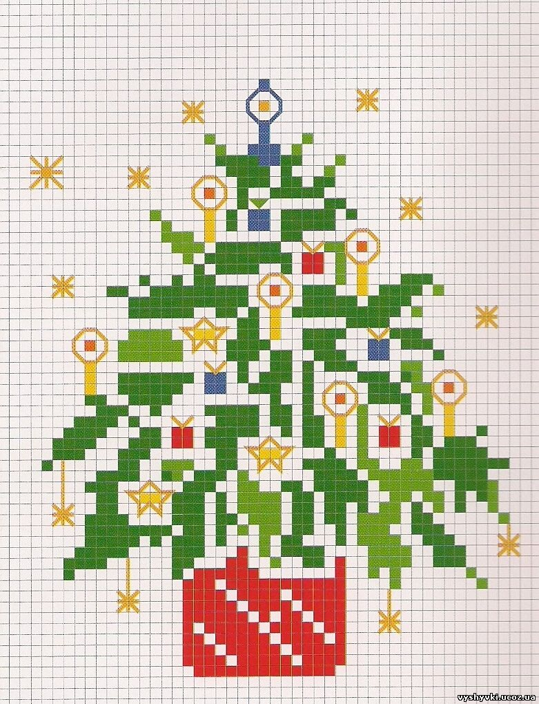 Вышивка новогодние елочки схемы