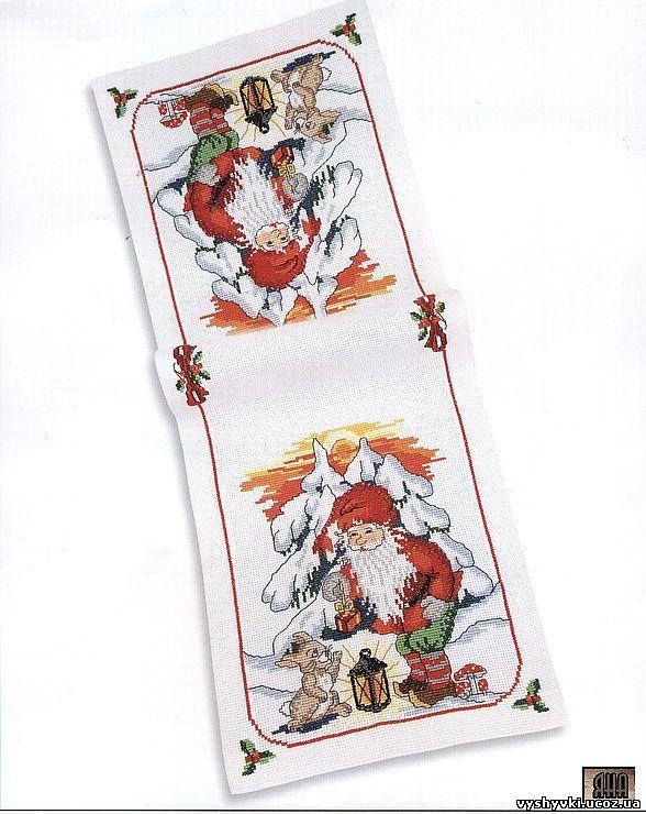 Новогодняя салфетка схема вышивки