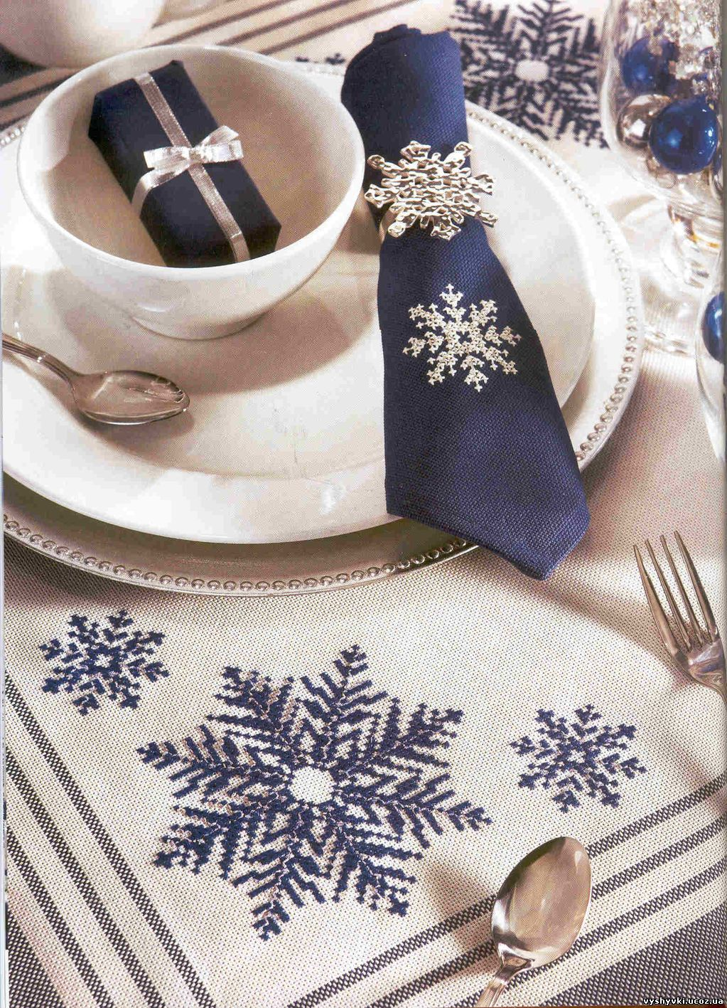 Схемы вышивки крестом новогодней салфетки