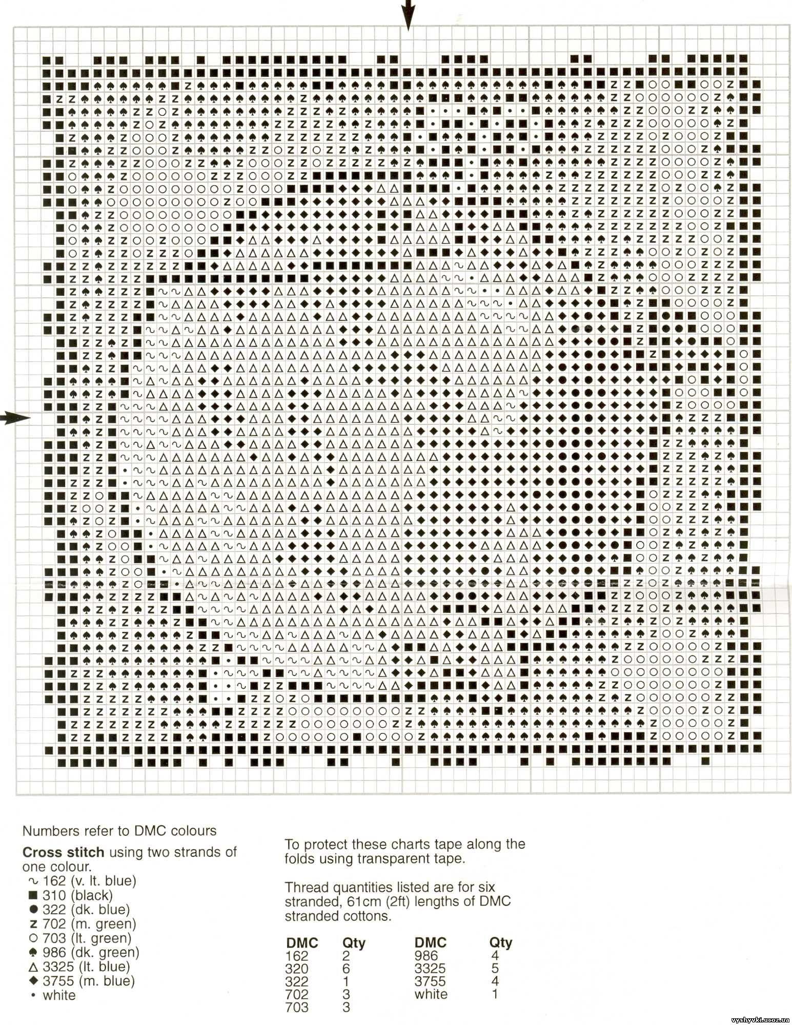 Схема вышивки кита крестом