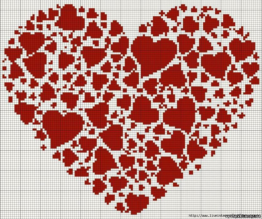Схема вышивки голуби на сердце