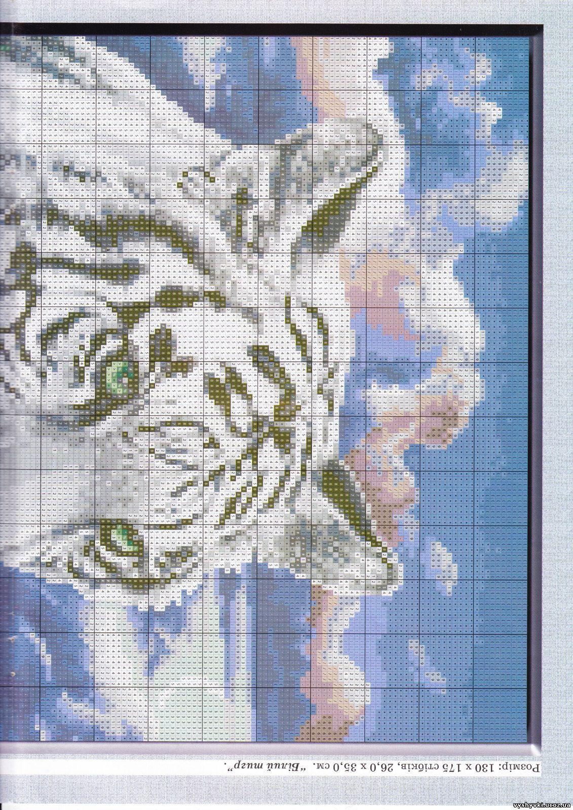 Вышивка крестом схема белые тигры