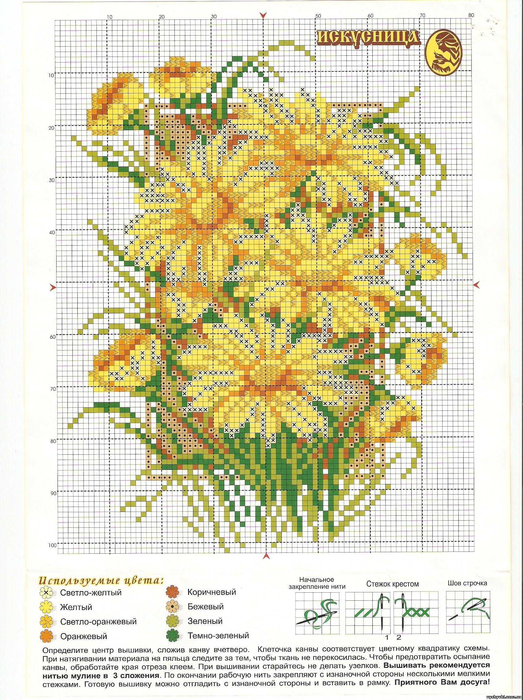 Схемы вышивки желтые цветы