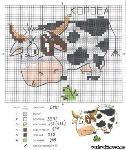 Схема вышивки смешной коровы