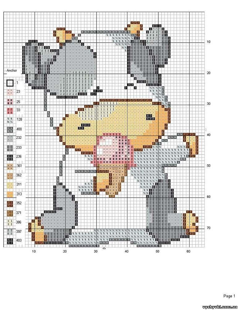 Схема вышивки коровки