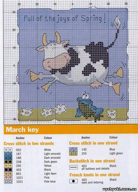 Схема вышивки милой коровки