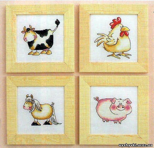 """Вышивка """"Ферма: коровы, курицы"""