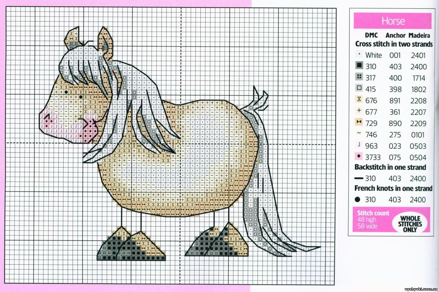 вязание крючком лошадка закладка схема