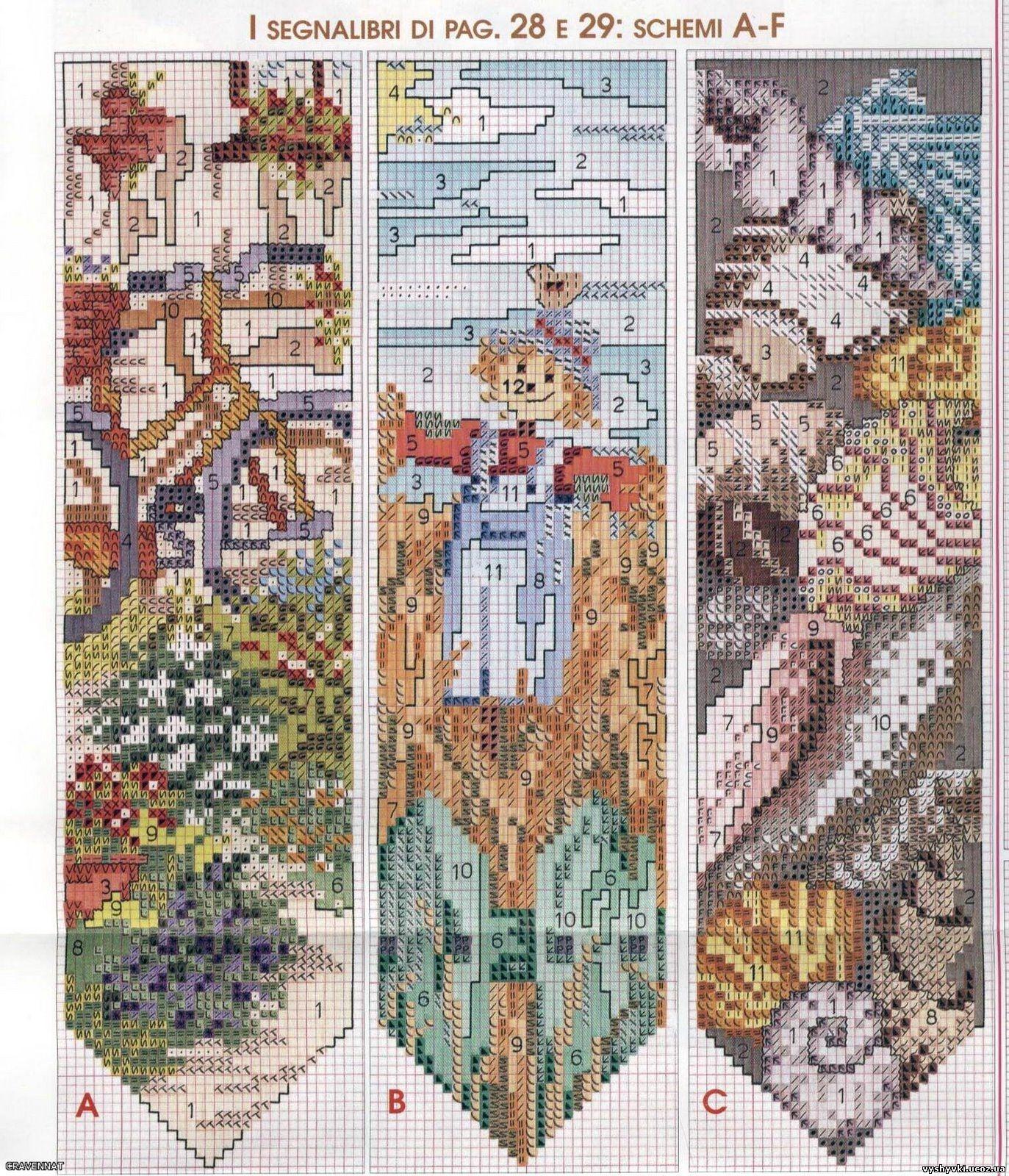 схема вышивки закладки для книг